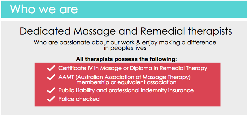Remedial and massage therapists - motions mobile massage